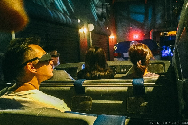 sitting in the car for Spider-man the ride - Osaka Guide: Universal Studios Japan | www.justonecookbook.com