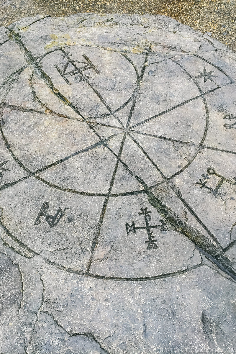 symbols and drawing on a rock at the Wizarding World of Harry Potter - Osaka Guide: Universal Studios Japan | www.justonecookbook.com