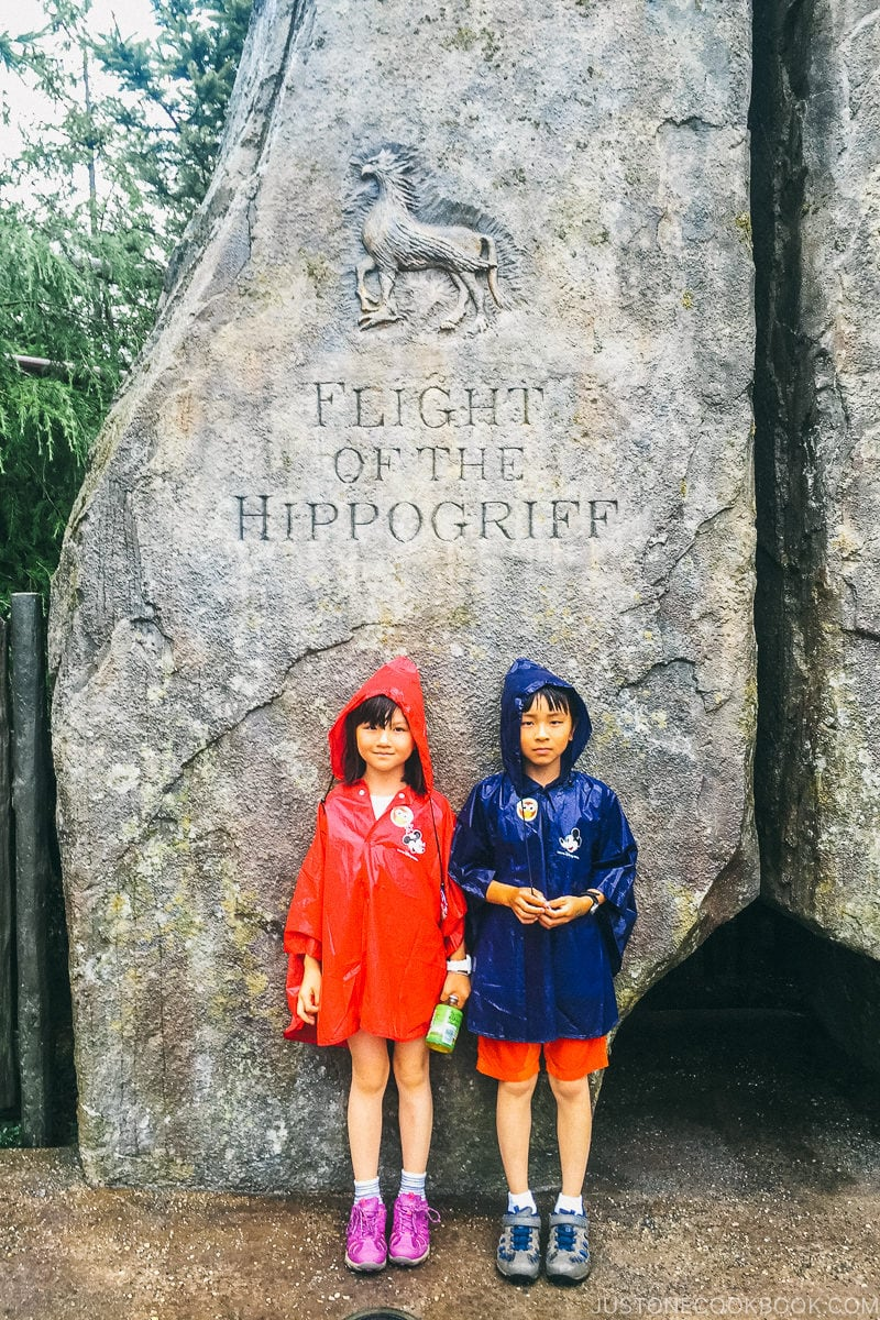 children standing in front of Flight of the Hippogriff sign - Osaka Guide: Universal Studios Japan | www.justonecookbook.com