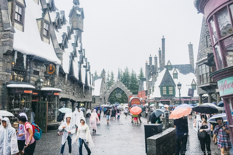 visitors walking around the Wizarding World of Harry Potter - Osaka Guide: Universal Studios Japan | www.justonecookbook.com