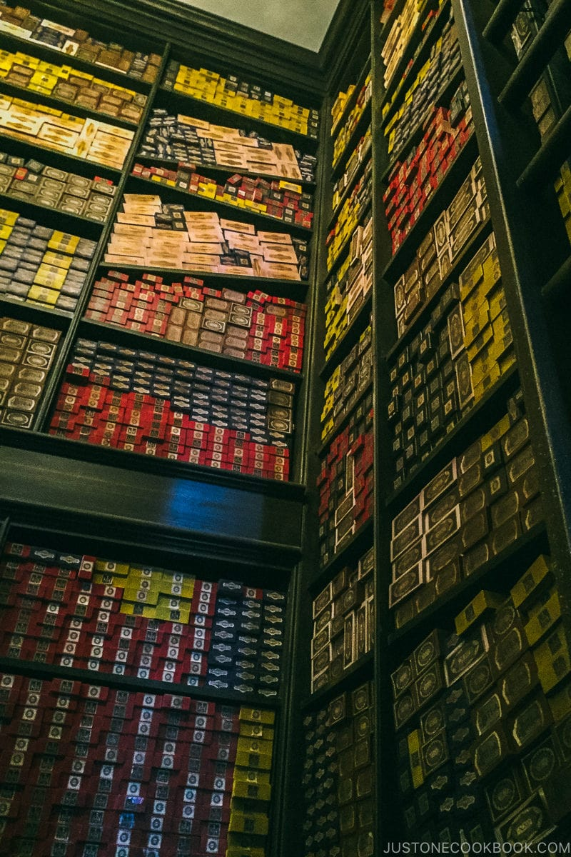boxes of wands at Ollivanders' wand shop - Osaka Guide: Universal Studios Japan | www.justonecookbook.com