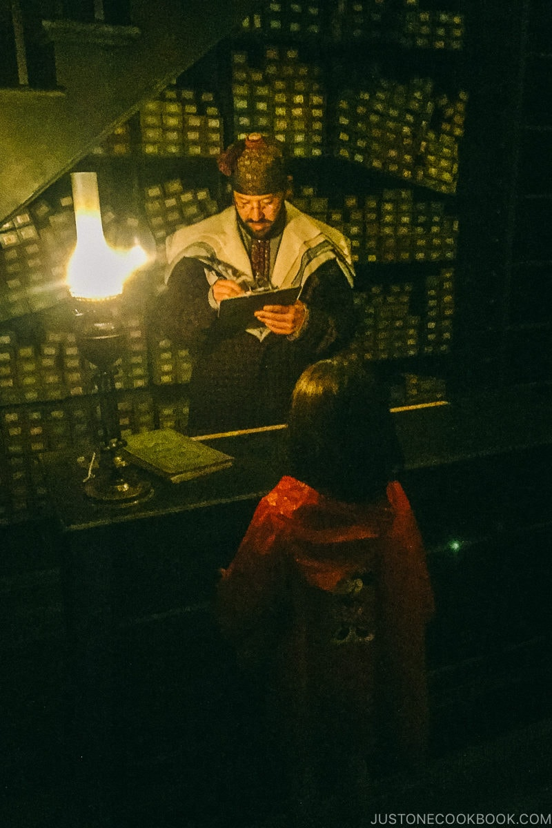 child in front of wand master at Ollivanders' wand shop - Osaka Guide: Universal Studios Japan | www.justonecookbook.com