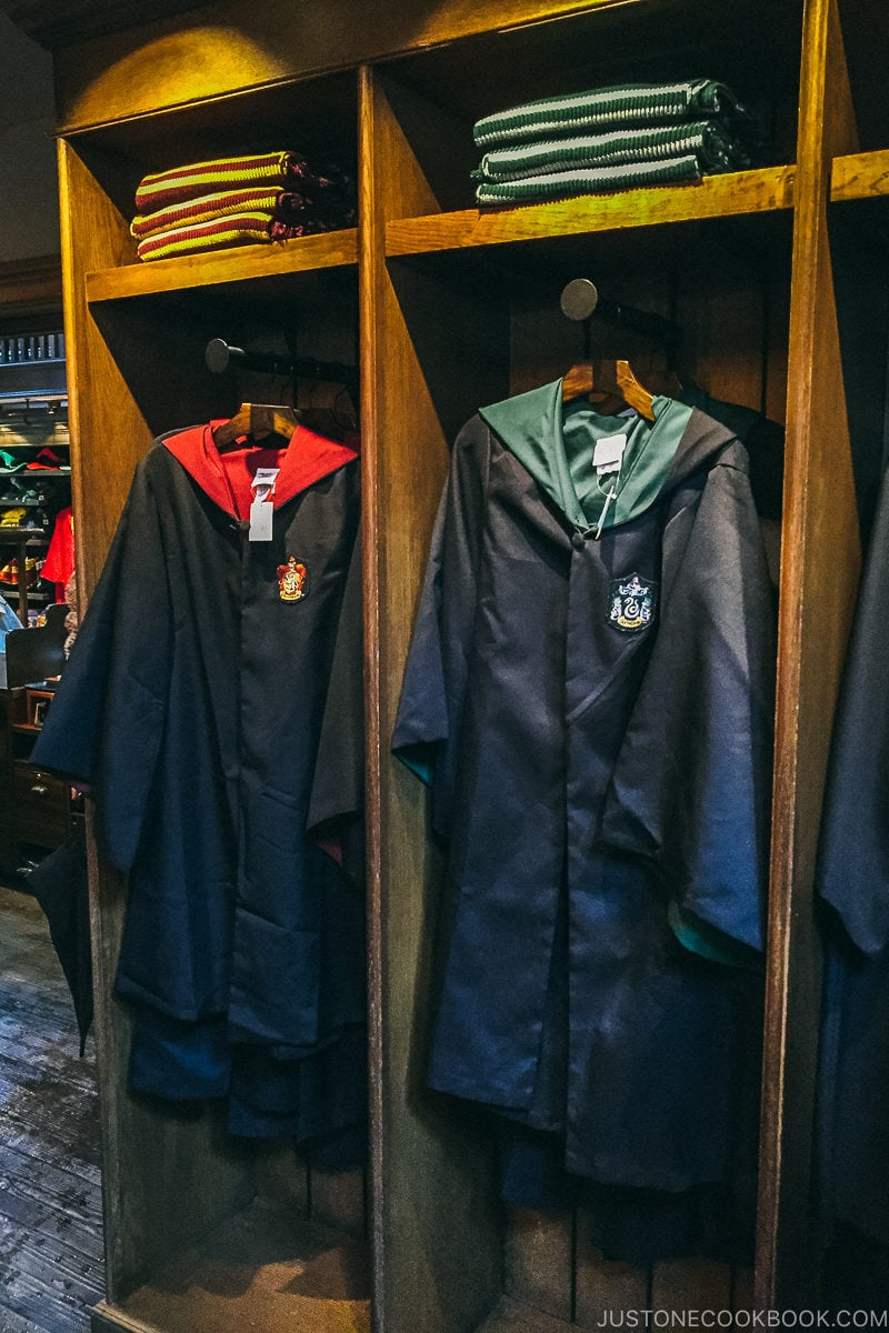 Hogwarts cloaks in the gift shop - Osaka Guide: Universal Studios Japan | www.justonecookbook.com