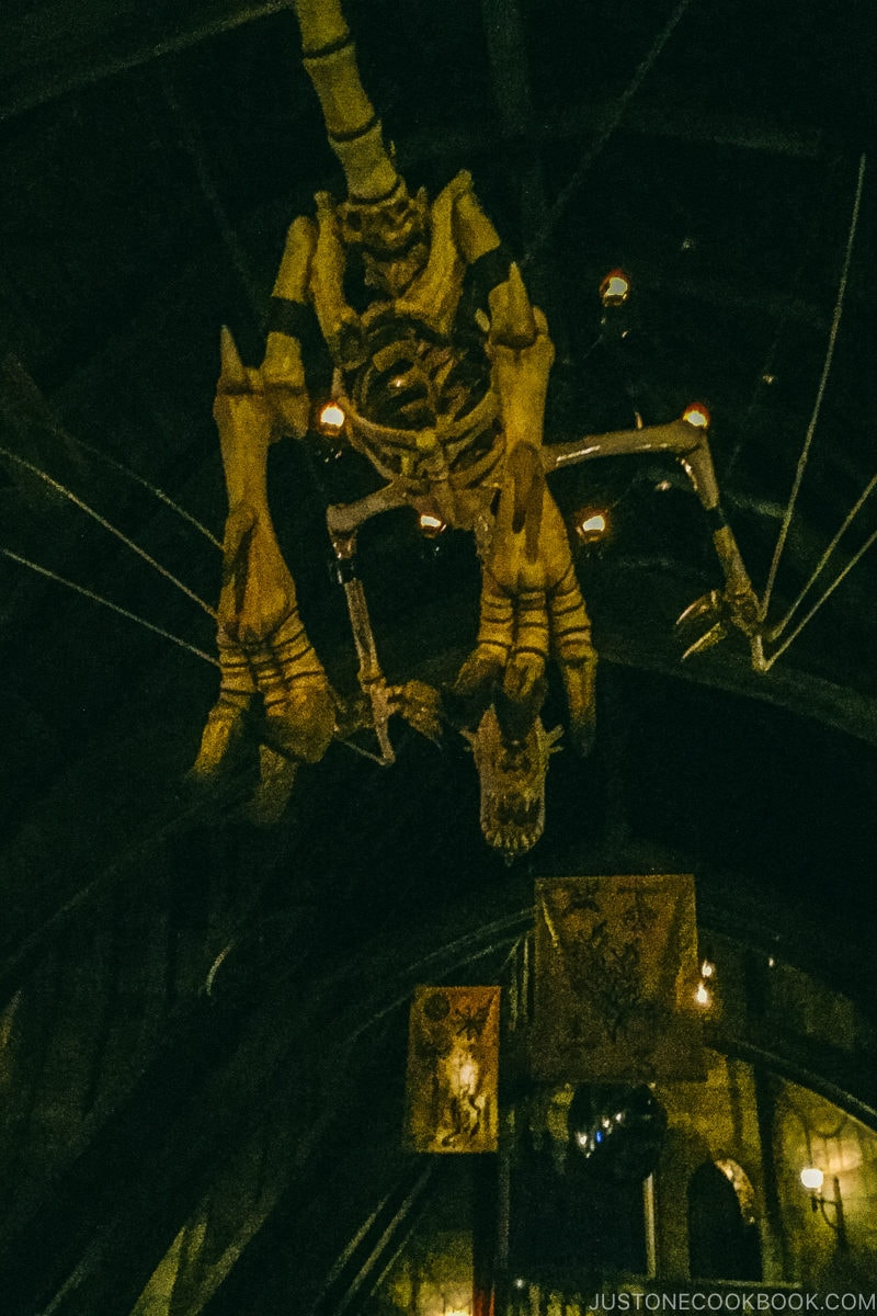 skeleton of dragon at Harry Potter and the Forbidden Journey ride - Osaka Guide: Universal Studios Japan | www.justonecookbook.com