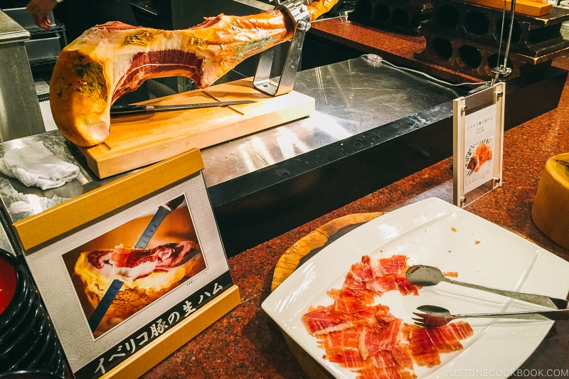 Iberico ham slices at Port Dining Rico Rico inside Hotel Universal Port - Osaka Guide: Universal Studios Japan | www.justonecookbook.com