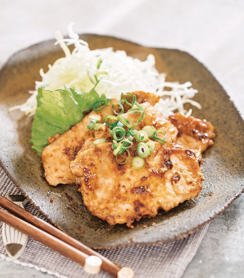 Ginger pork with shallots on a dish