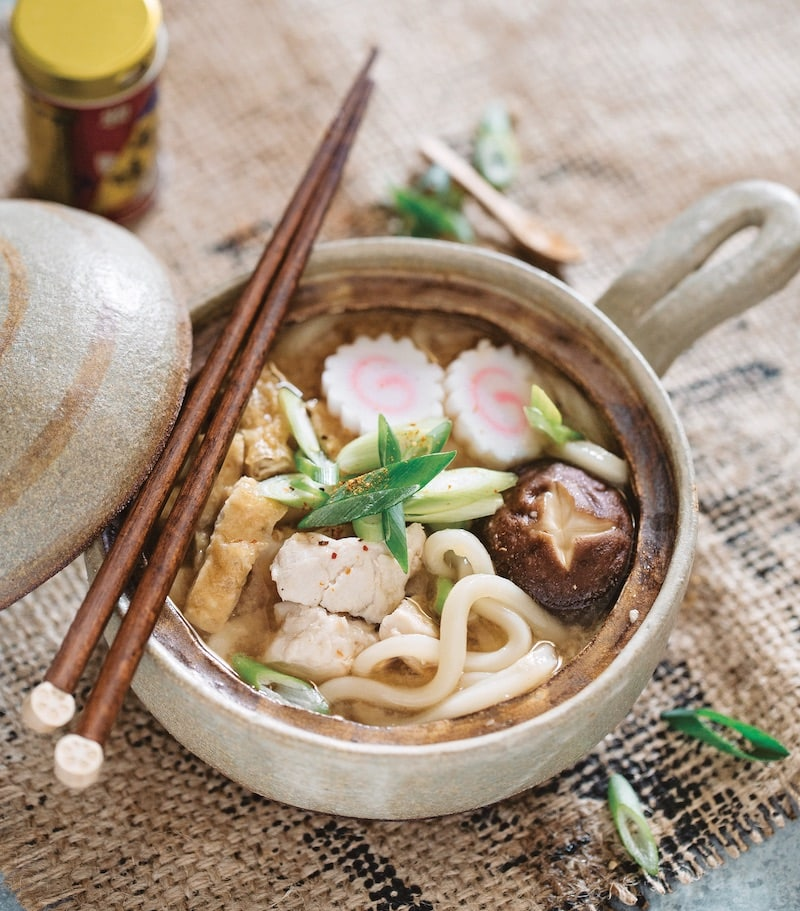Miso udon stew in a pot