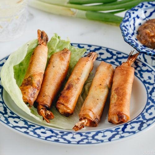 Shrimp Egg Rolls on a serving platter along with Negi Miso Sauce.