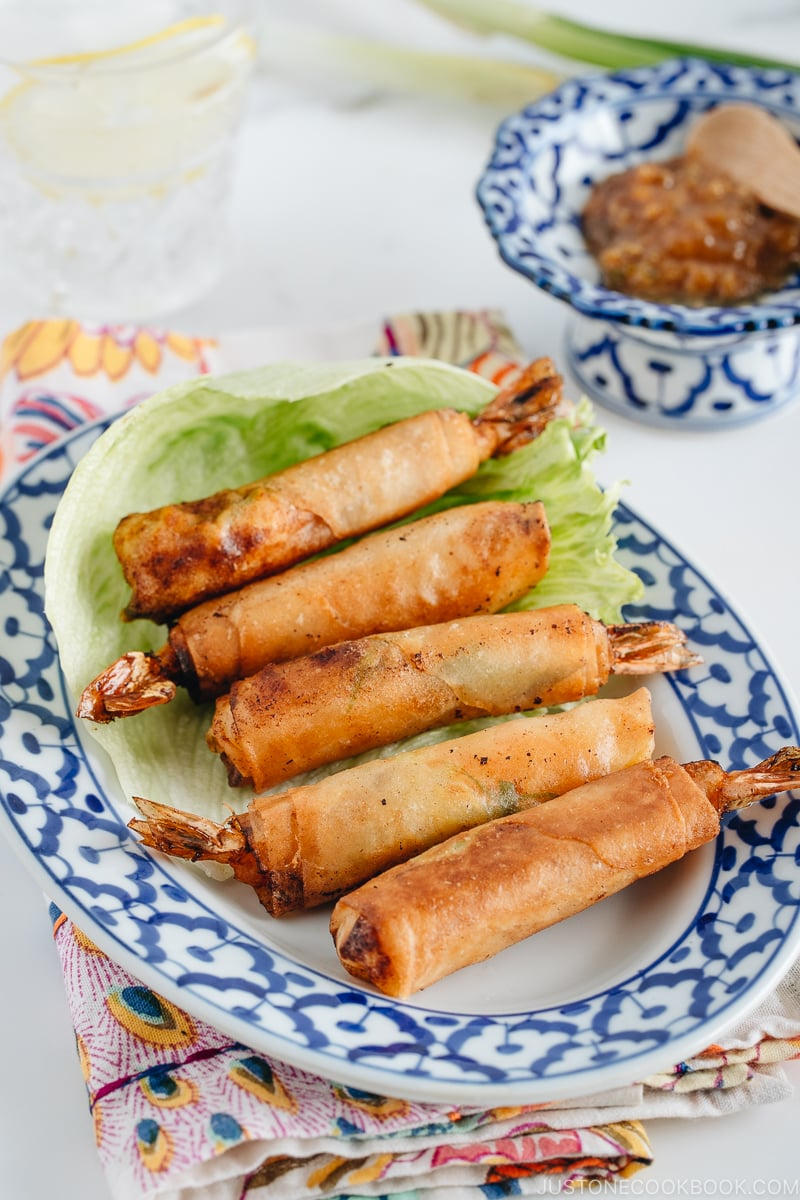 Shrimp Egg Rolls on a serving platter along with Negi Miso Sauce.