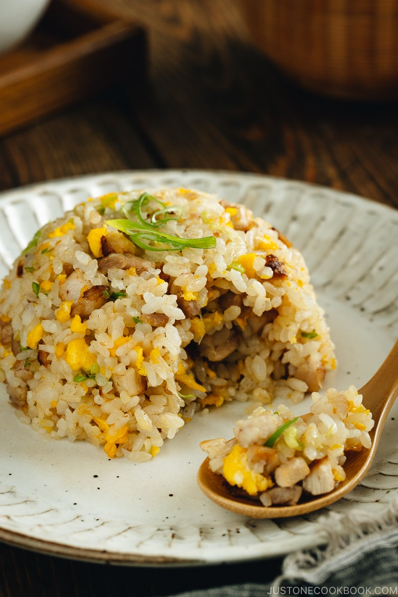Chashu fried rice on a white plate.
