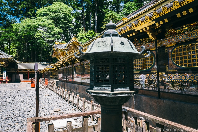 Imperial Lantern in front of corridor - Nikko Travel Guide : Nikko Toshogu Shrine | www.justonecookbook.com