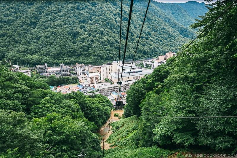 view of Kinugawa Onsen town from the ropeway - Nikko Travel Guide : Kinugawa Onsen | www.justonecookbook.com