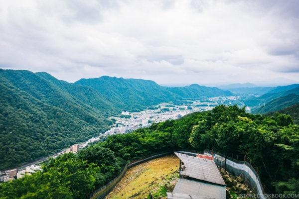 view of Kinugawa onsen from top of the ropeway - Nikko Travel Guide : Kinugawa Onsen | www.justonecookbook.com