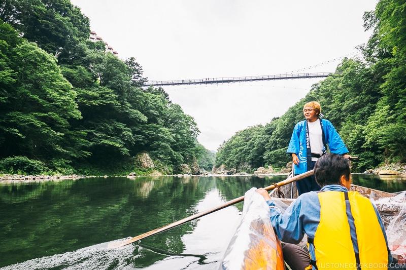 on the Kinugawa boat ride passing under suspension bridge - Nikko Travel Guide : Kinugawa Onsen | www.justonecookbook.com