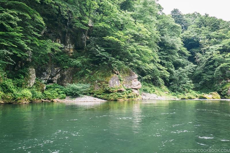 the scenery from the Kinugawa boat ride - Nikko Travel Guide : Kinugawa Onsen | www.justonecookbook.com