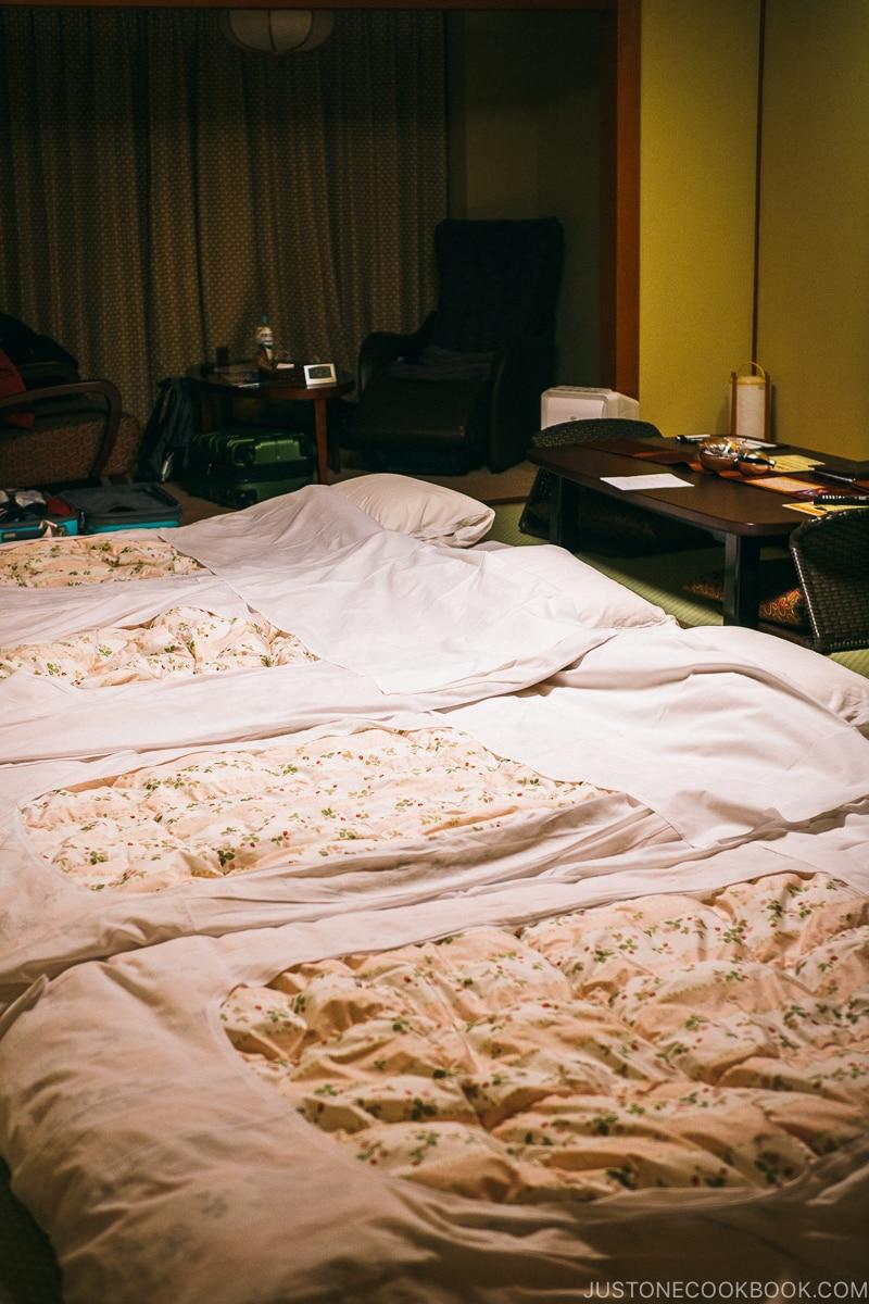 room with ofuton made - Nikko Travel Guide : Kinugawa Onsen | www.justonecookbook.com