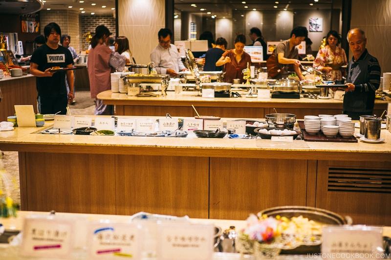 breakfast buffet at Asaya hotel - Nikko Travel Guide : Kinugawa Onsen | www.justonecookbook.com