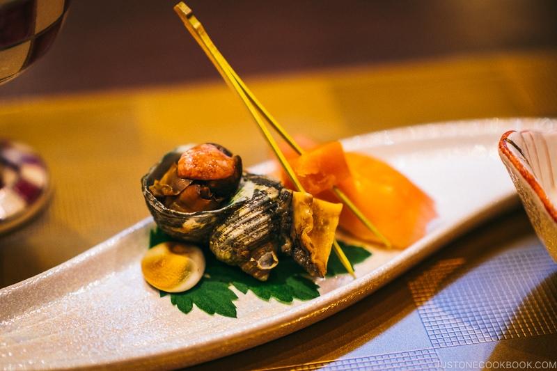 sea snail (part of meal) - Nikko Travel Guide : Kinugawa Onsen | www.justonecookbook.com