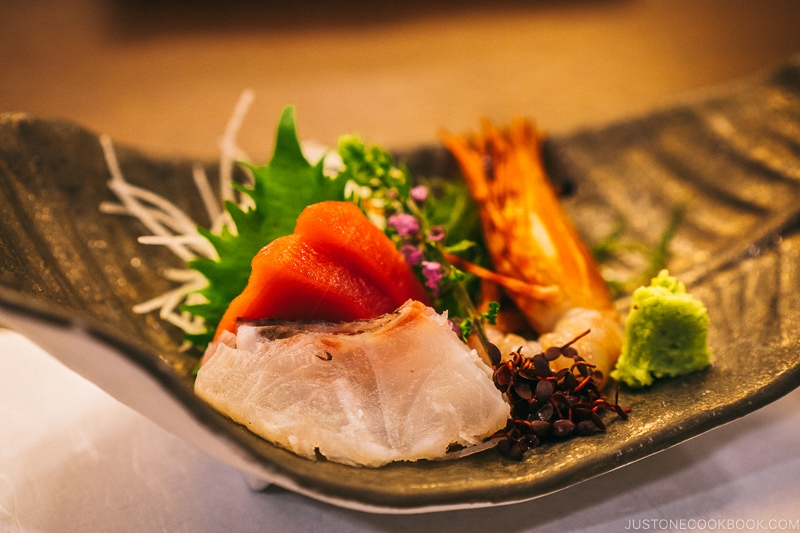 sashimi at Asaya hotel - Nikko Travel Guide : Kinugawa Onsen | www.justonecookbook.com