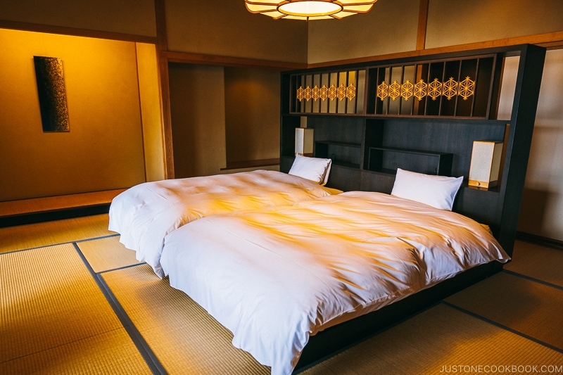 hotel room with two beds