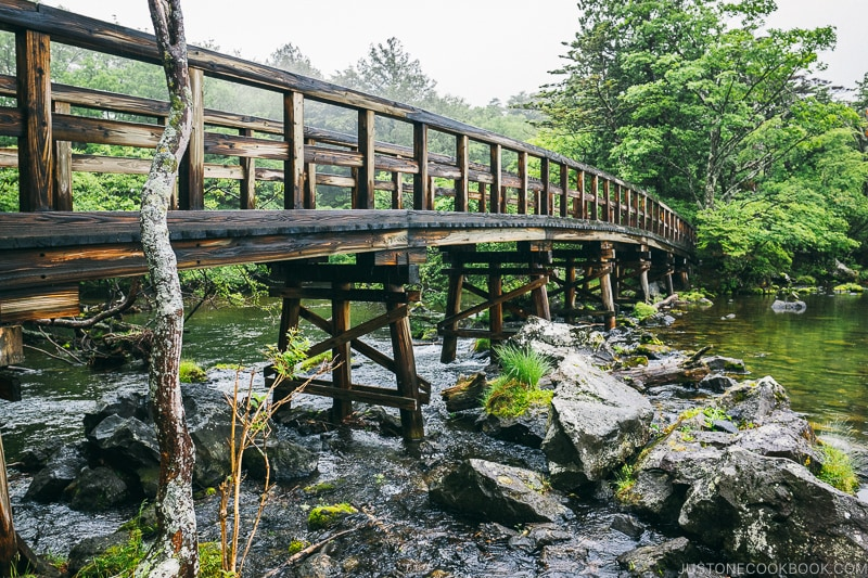 wooden bridge at Lake Yuno - Things to do around Lake Chuzenji | www.justonecookbook.com
