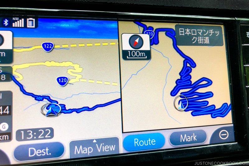 Navigation system in the car showing Nikko Irohazaka - Lost Wallet in Japan What to Do | www.justonecookbook.com