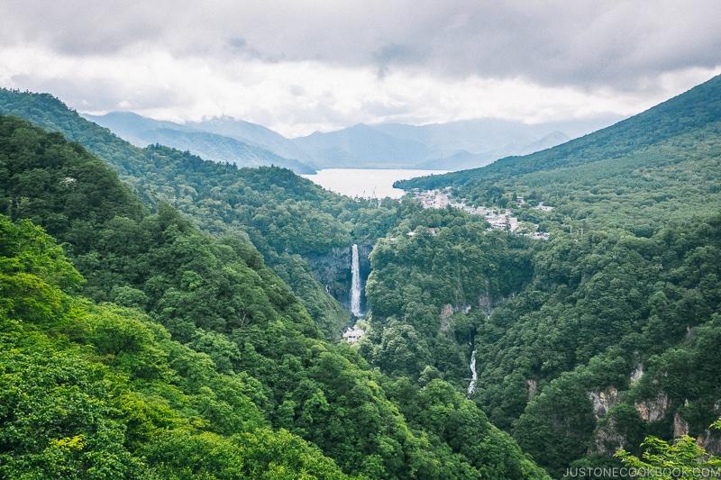 View of Lake Chuzenji and Kegon Falls from Akechidaira Plateau - Kegon Falls and Akechidaira Plateau | www.justonecookbook.com