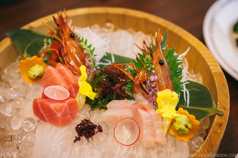Sashimi dish at Okunoin Hotel Tokugawa - Places to Visit and Things to do in Nikko | www.justonecookbook.com
