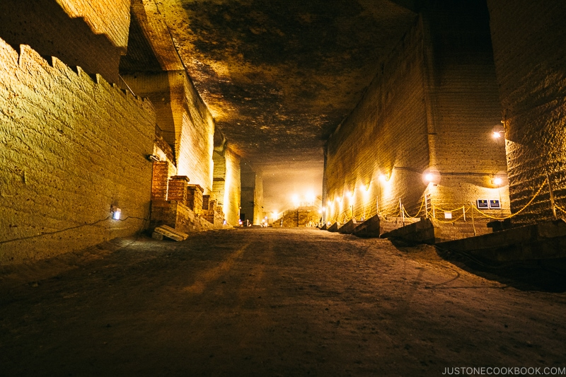 long hallway inside underground quarry - Oya History Museum | www.justonecookbook.com