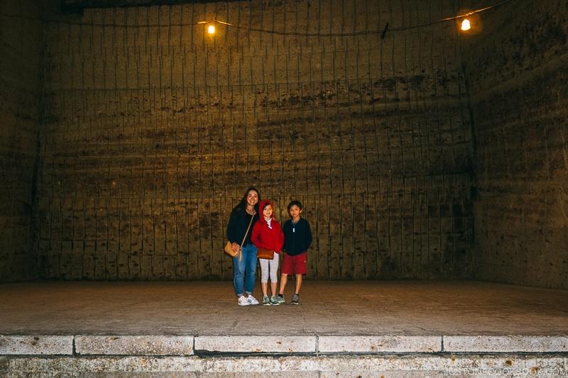 family standing inside underground quarry - Oya History Museum | www.justonecookbook.com