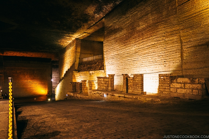 long hallways inside underground quarry - Oya History Museum | www.justonecookbook.com