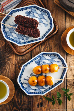 Mitarashi Dango and Dango with anko on a Japanese blue ceramic.