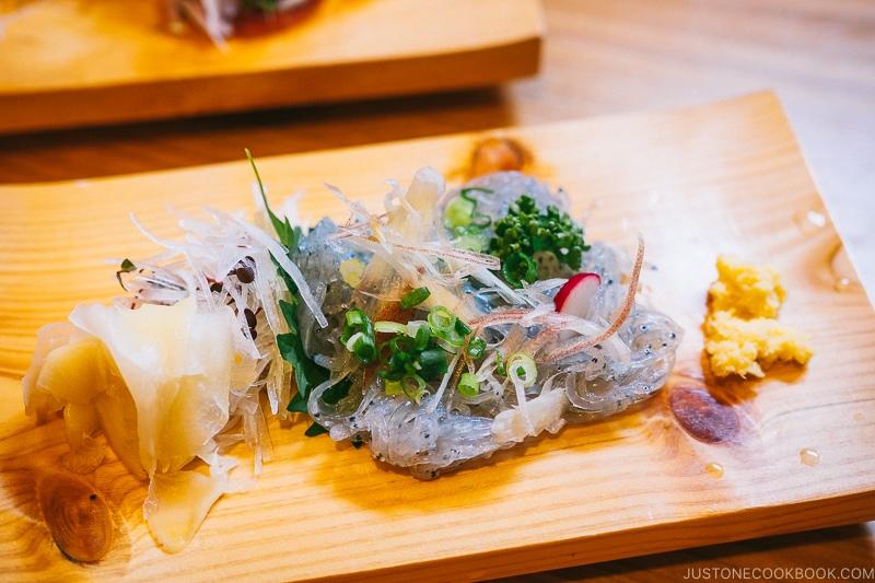 shirasu sashimi at Hashimoto Soba restaurant - Odawara Castle Guide   www.justonecookbook.com