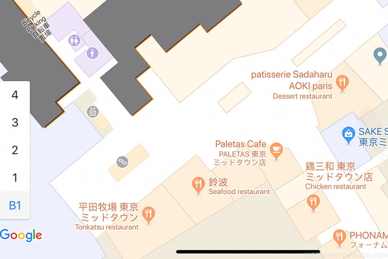 Google map of building interior - Insiders' Guide for For First Time Visitors to Japan   www.justonecookbook.com