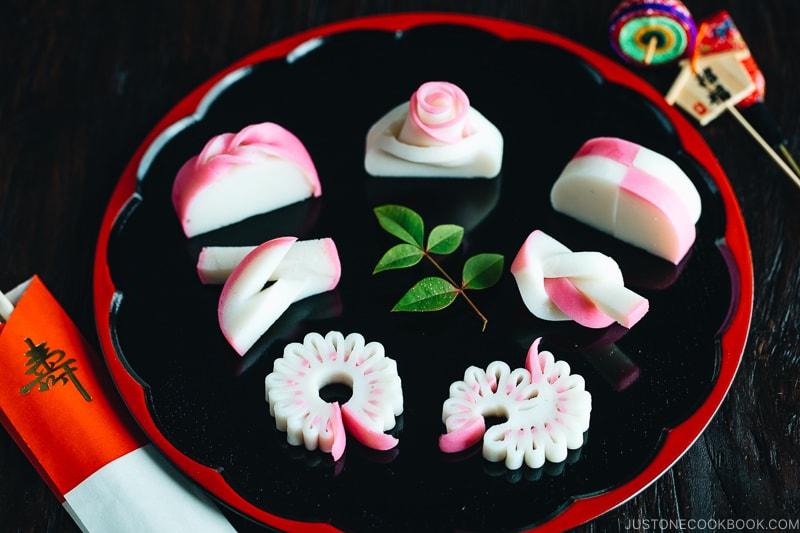kamaboko cut into decorative patterns - Make Fish Cakes at Suzuhiro Kamaboko Museum | www.justonecookbook.com