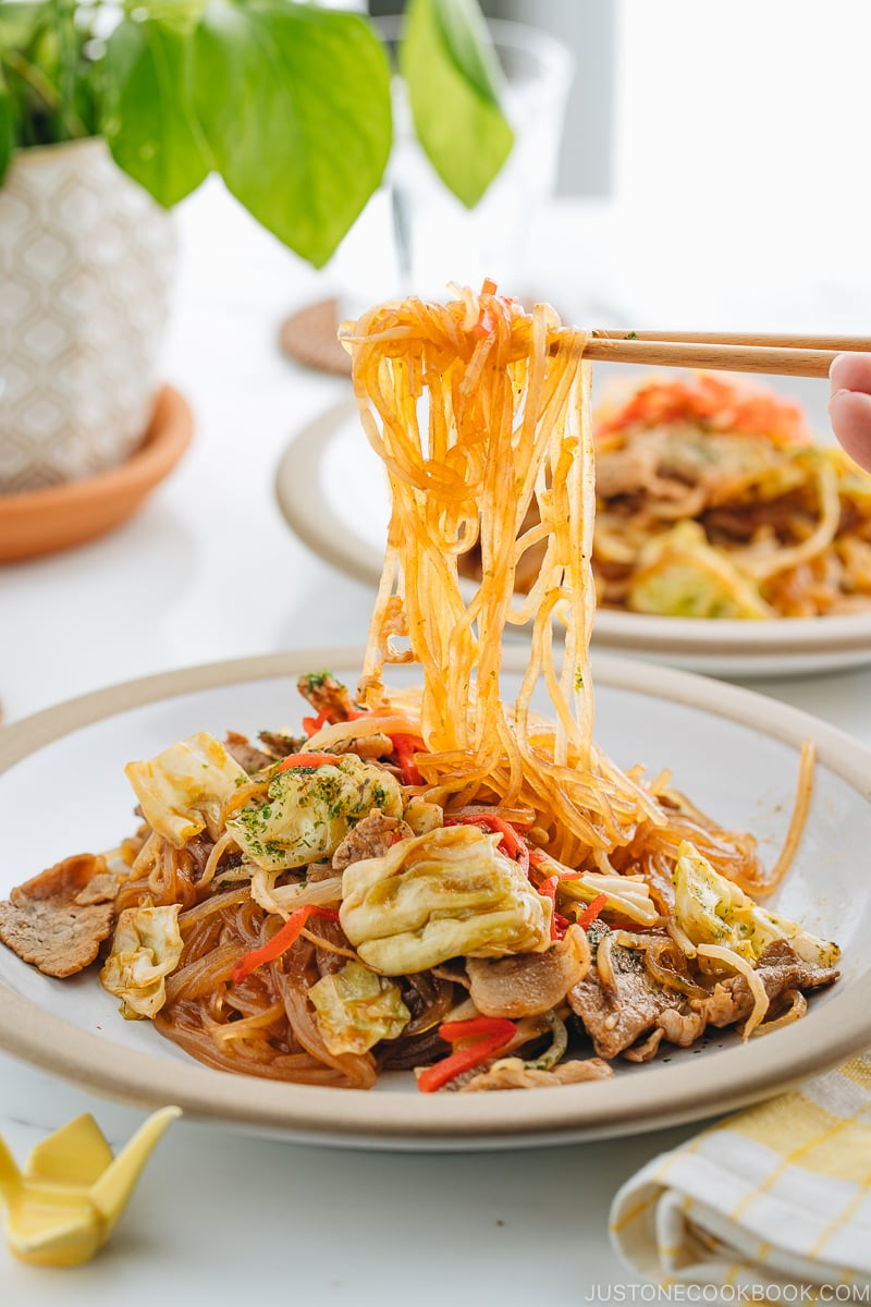 A plate containing Yakisoba with Malony Glass Noodles.