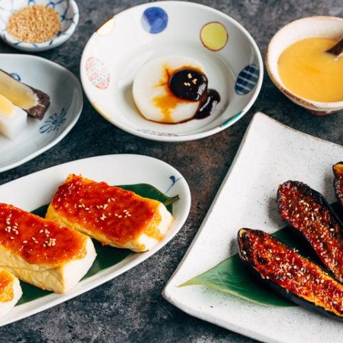 Various miso dengaku menus on the table.