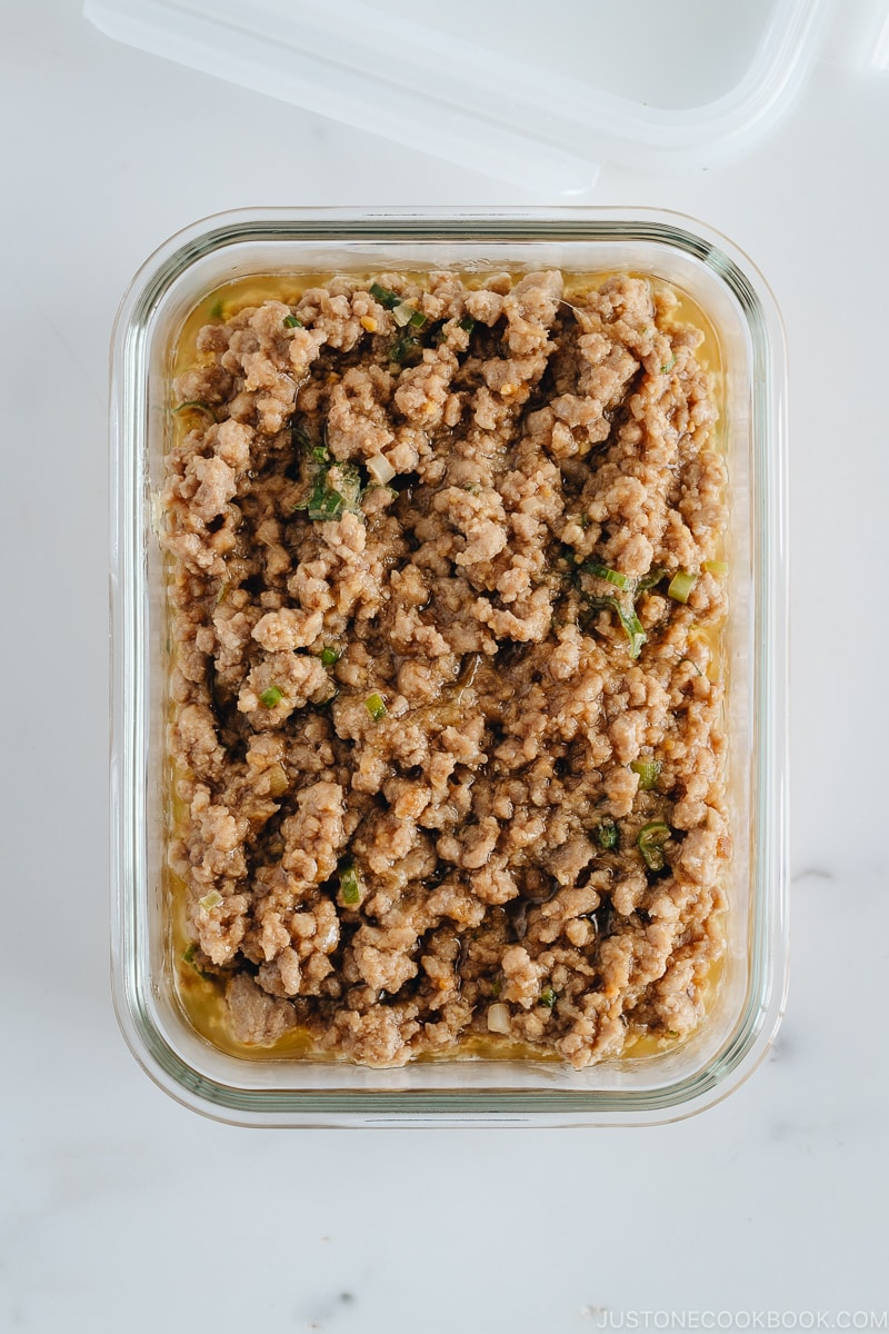 Miso meat sauce in a glass container.