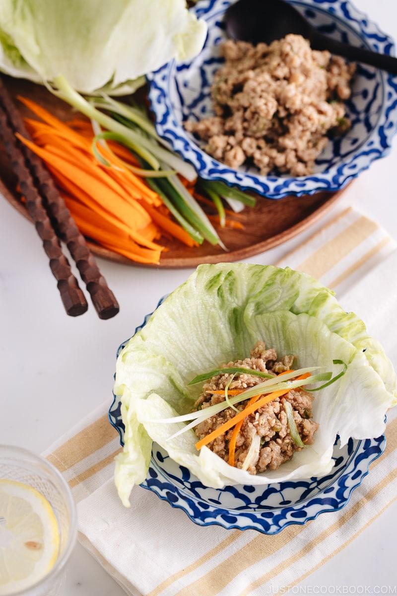 All-Purpose Miso Meat Sauce (Niku Miso) in lettuce wrap.