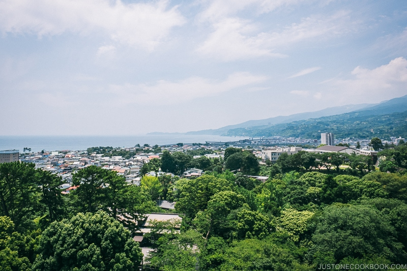 Looking south towards Izu Peninsula from Odawara Castle - Odawara Castle Guide | www.justonecookbook.com