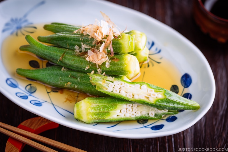 Okra Ohitashi (Japanese Okra Salad) on a plate.