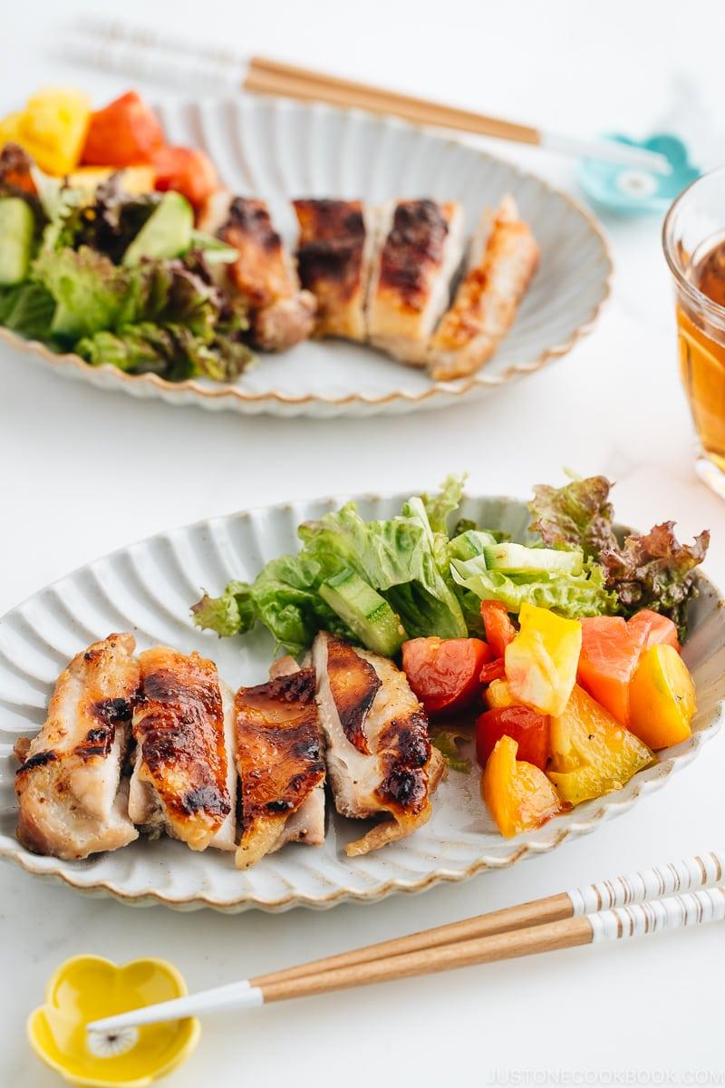 Shio Koji Chicken on a oval plate.