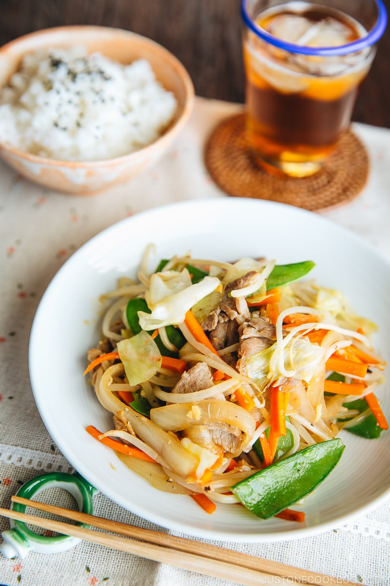 A white plate containing Stir Fry Vegetables (Yasai Itame)