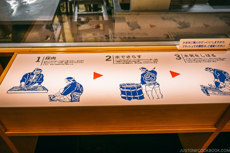 sign explaining how kamaboko are traditionally made - Make Fish Cakes at Suzuhiro Kamaboko Museum | www.justonecookbook.com