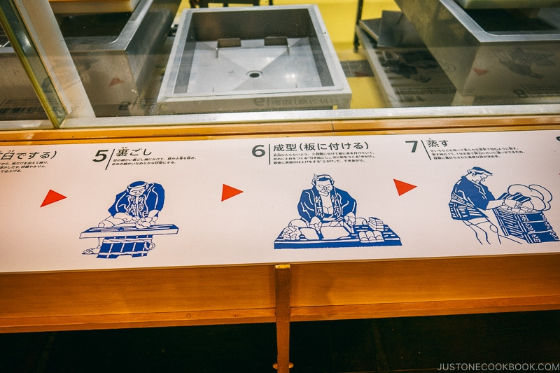 A sign on a table show how to make kamaboko