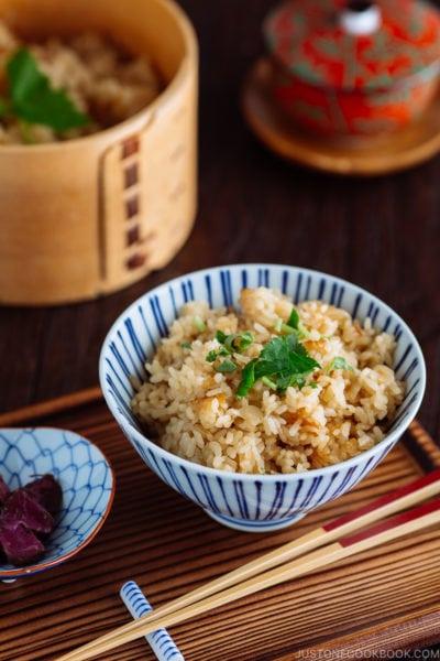 Rice bowl containing sweet onion takikomi gohan.