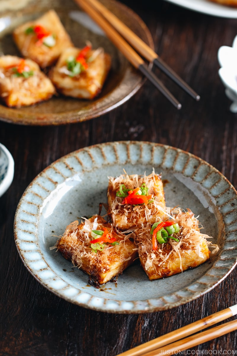 Teriyaki tofu on a Japanese plates.