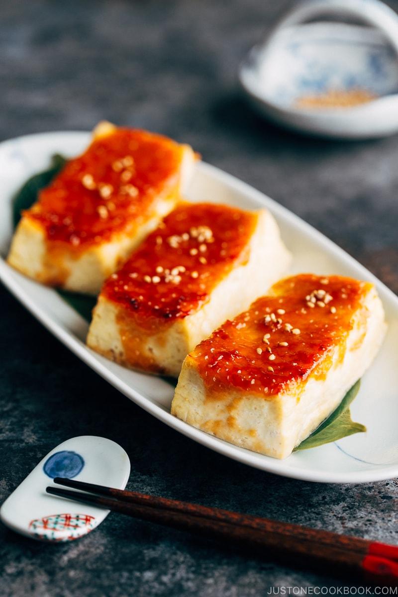 Tofu dengaku on a plate.
