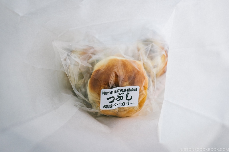 tsubuan bread in package from Yanagiya Bakery - Odawara Castle Guide | www.justonecookbook.com