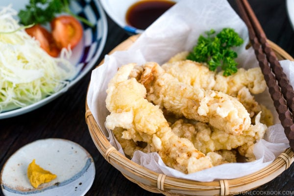 Chicken Tempura (Toriten) served in a bamboo basket.